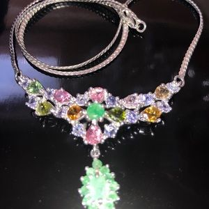 Magnificent Genuine Emerald Necklace with Gems